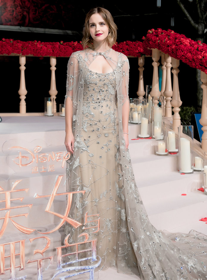 Emma Watson glams up with co-stars to premiere movie 'Beast and the Beast' in Shanghai