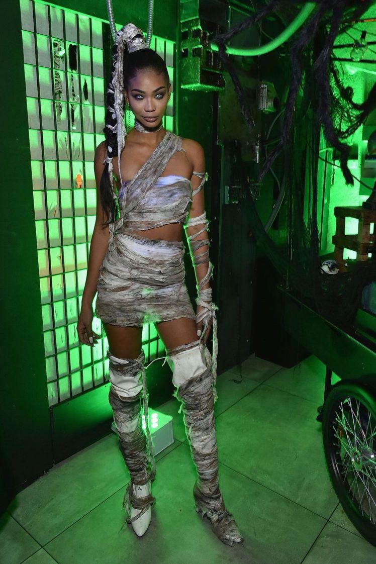 Chanel Iman dressed as a mummy